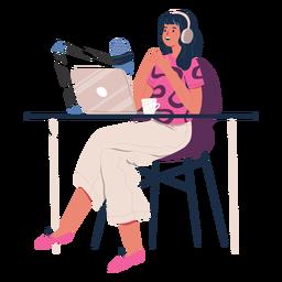 Mulher sentada falando em personagem de podcast