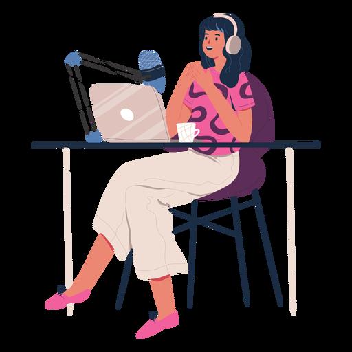 Mujer sentada hablando en personaje de podcast