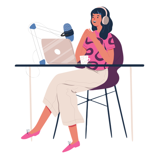 Woman sitting talking in podcast character