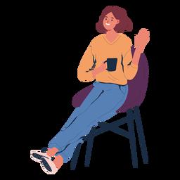 Mujer sentada con personaje de café