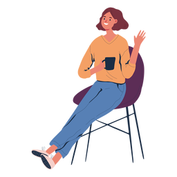 Woman sitting with coffee character