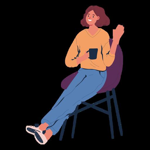 Mujer sentada con personaje de café Transparent PNG