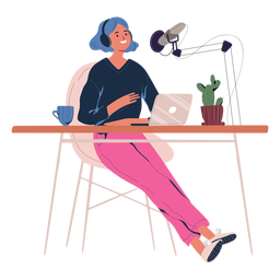 Woman talking in podcast character