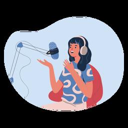 Mulher falando em mulher de personagem de podcast