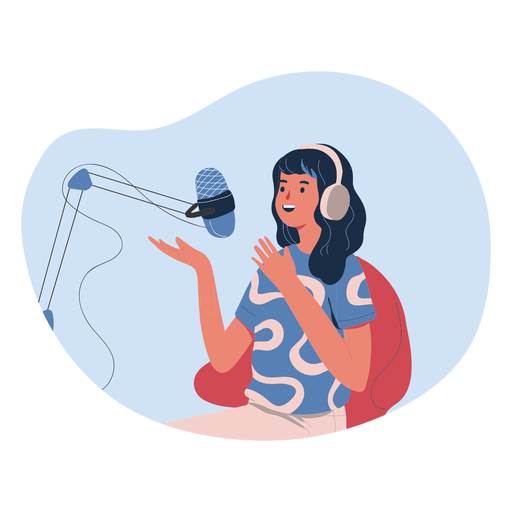 Woman talking in podcast character woman Transparent PNG
