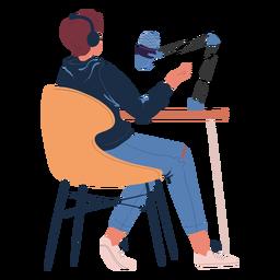 Mann sitzt im Podcast-Charakter sprechend