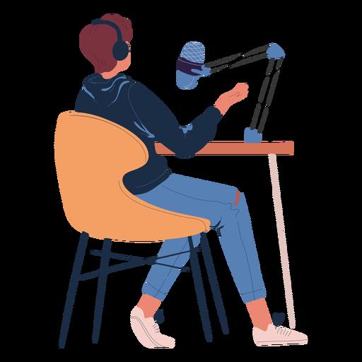 Hombre sentado hablando en personaje de podcast
