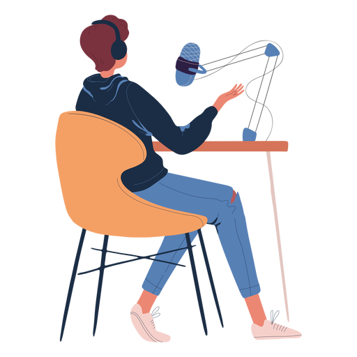 Man sitting talking in podcast character Transparent PNG
