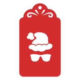 Etiqueta de corte de papel de chapéu de Natal de óculos de sol