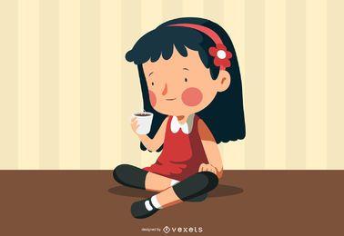 Linda menina com uma xícara de café