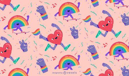 Diseño de patrón de dibujos animados de orgullo