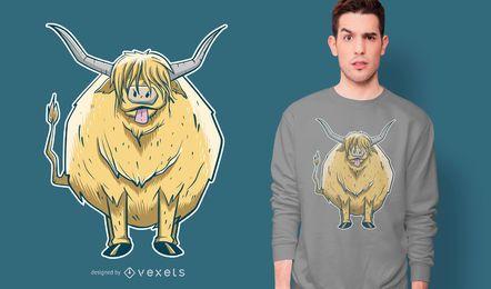 Design de camiseta de vaca peluda das montanhas
