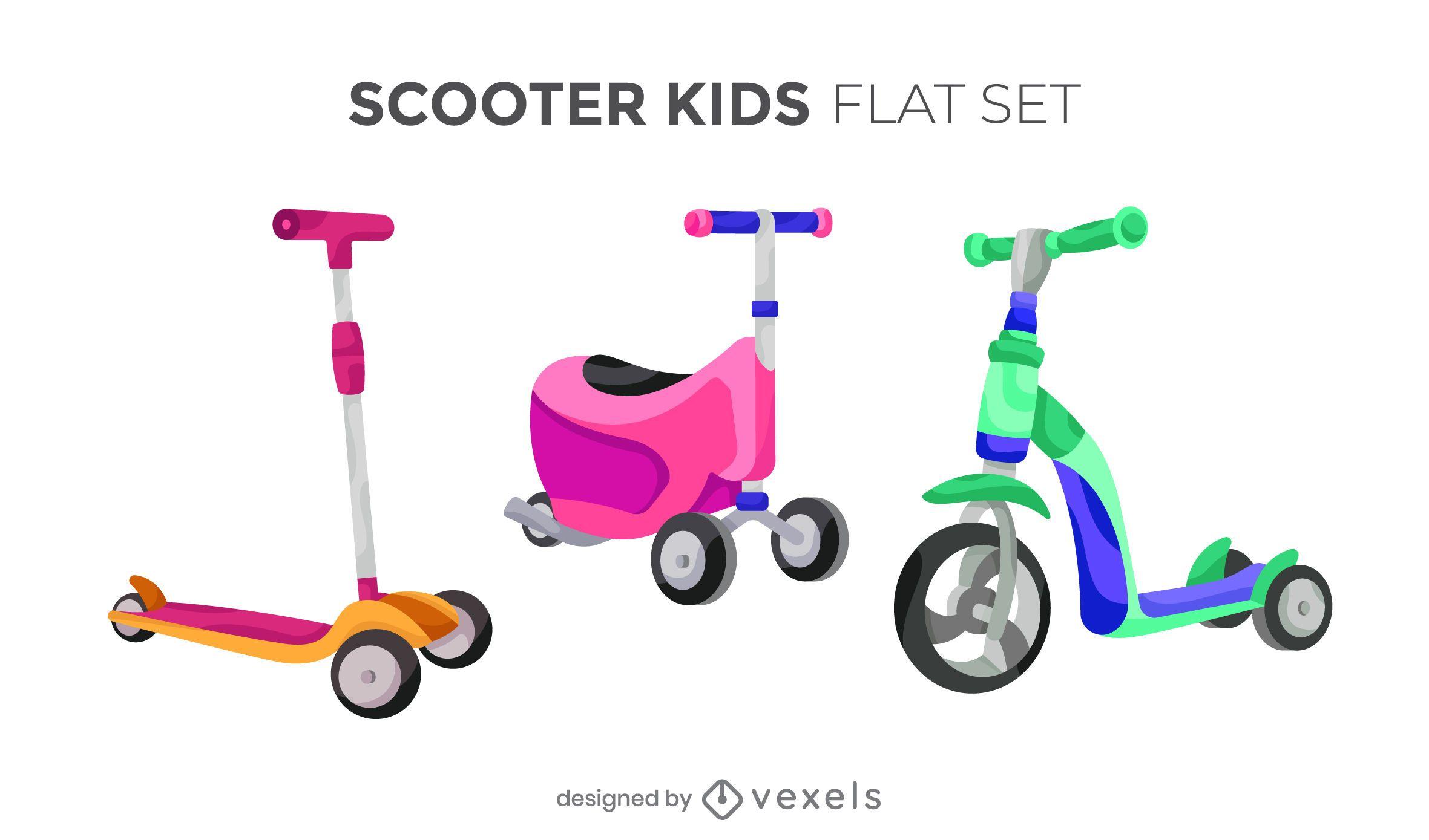 Conjunto de diseño colorido de scooter para niños