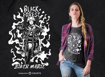 Projeto do t-shirt do motociclista da menina da