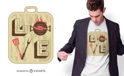 Diseño de camiseta Love BBQ