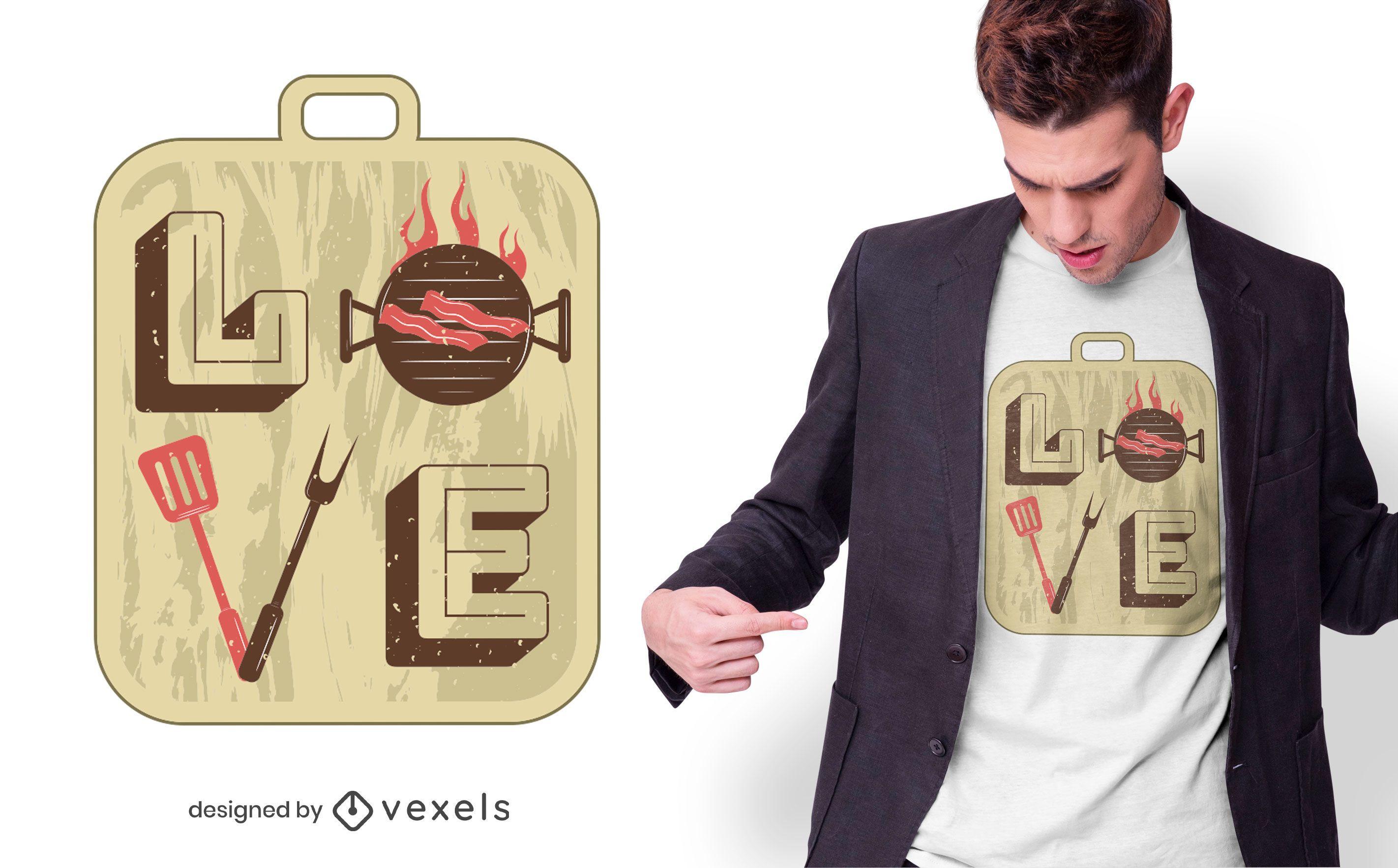 Love BBQ T-shirt Design
