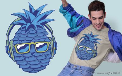 Blaues Ananas-T-Shirt Design
