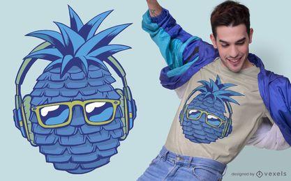 Diseño de camiseta azul de piña