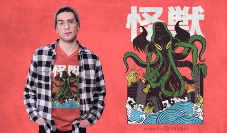 Japanese Cthulhu T-shirt Design