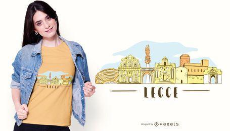 Projeto do t-shirt da skyline da cidade de Lecce