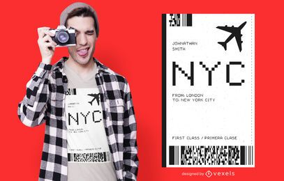 Diseño de camiseta de boleto de avión de Nueva York