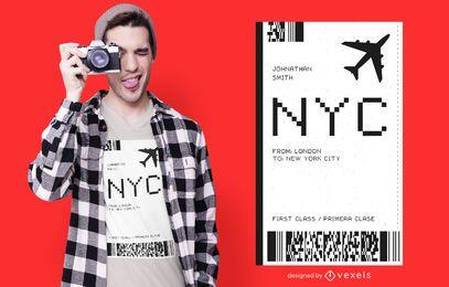 Projeto do t-shirt do bilhete de avião de NYC