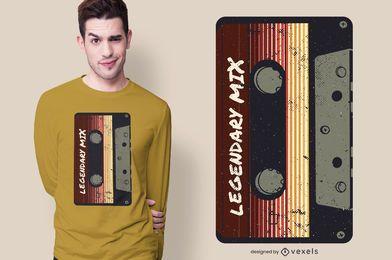 Diseño de camiseta vintage con cinta de cassette