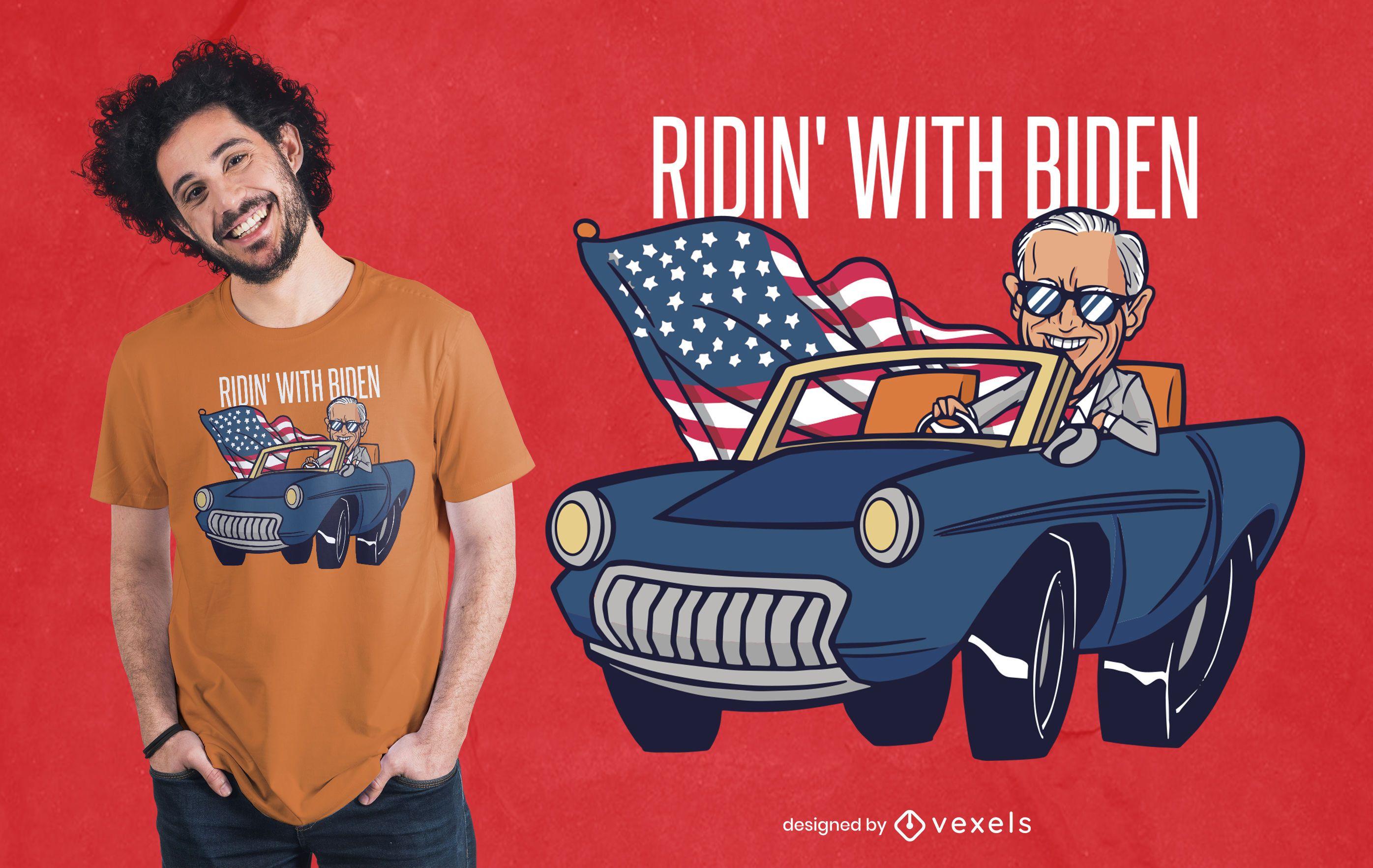 Diseño de camiseta Riding With Biden