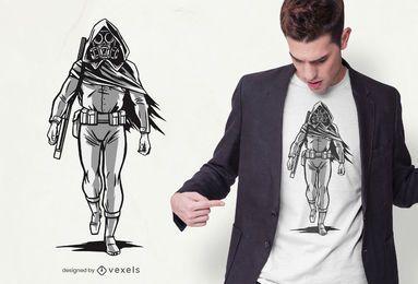 Diseño de camiseta de personaje apocalíptico