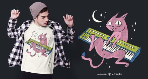Design de camiseta de sintetizador de gato