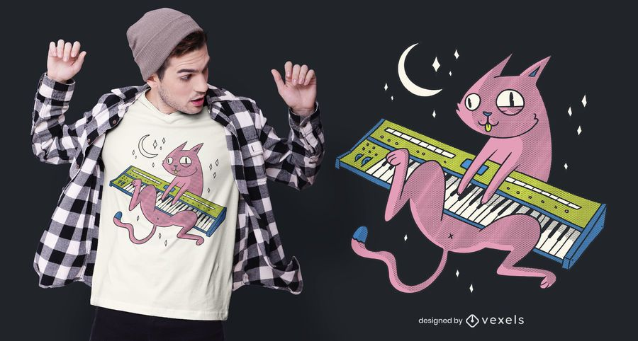 Cat Synth T-shirt Design