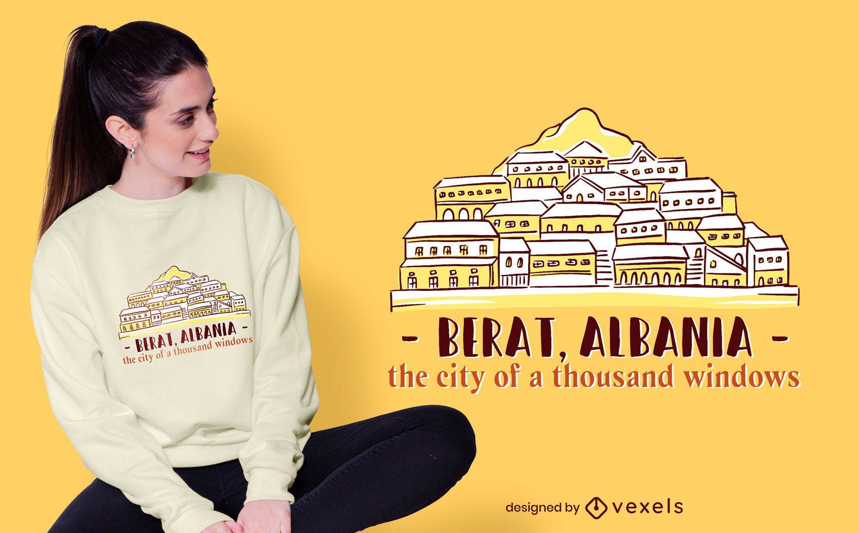 Diseño de camiseta Berat Skyline
