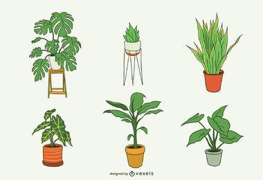 Pacote de ilustração de plantas caseiras