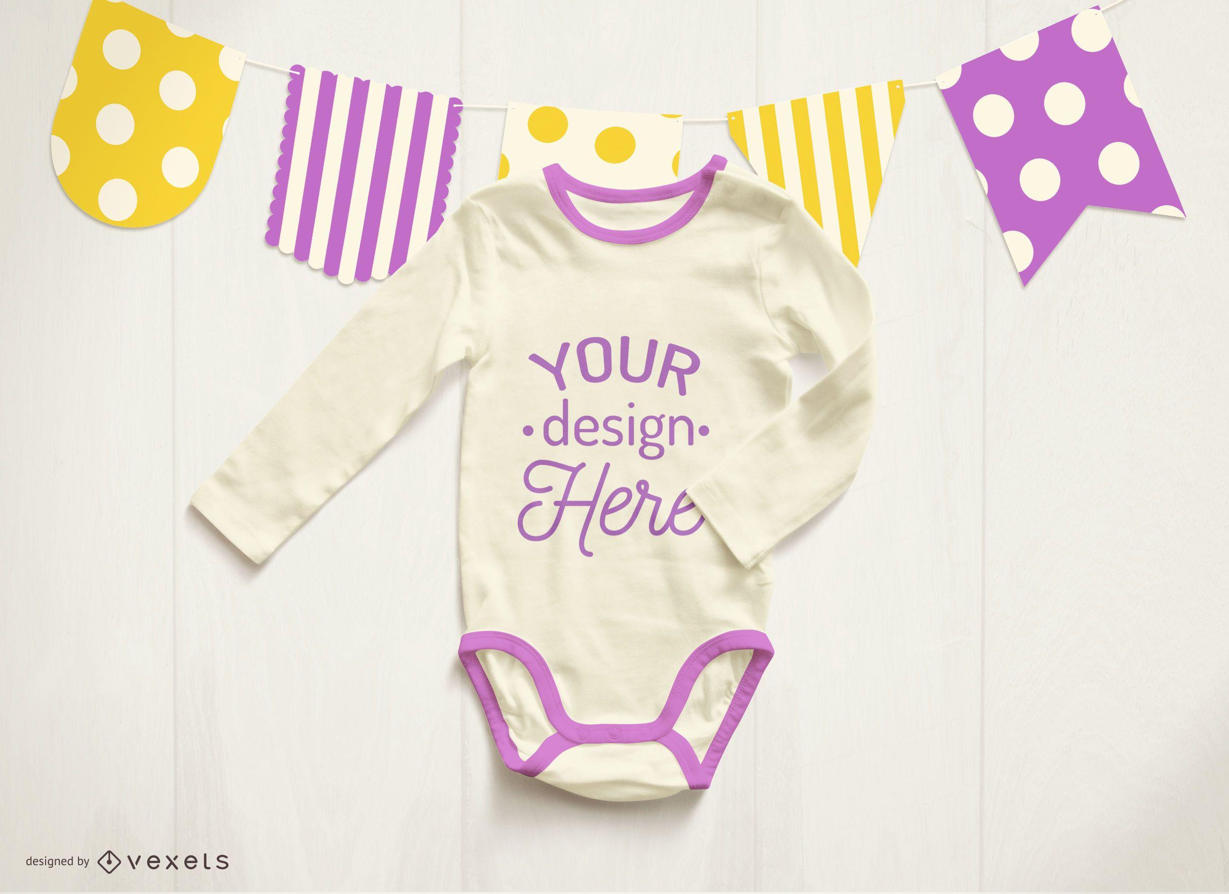Purple baby onesie mockup