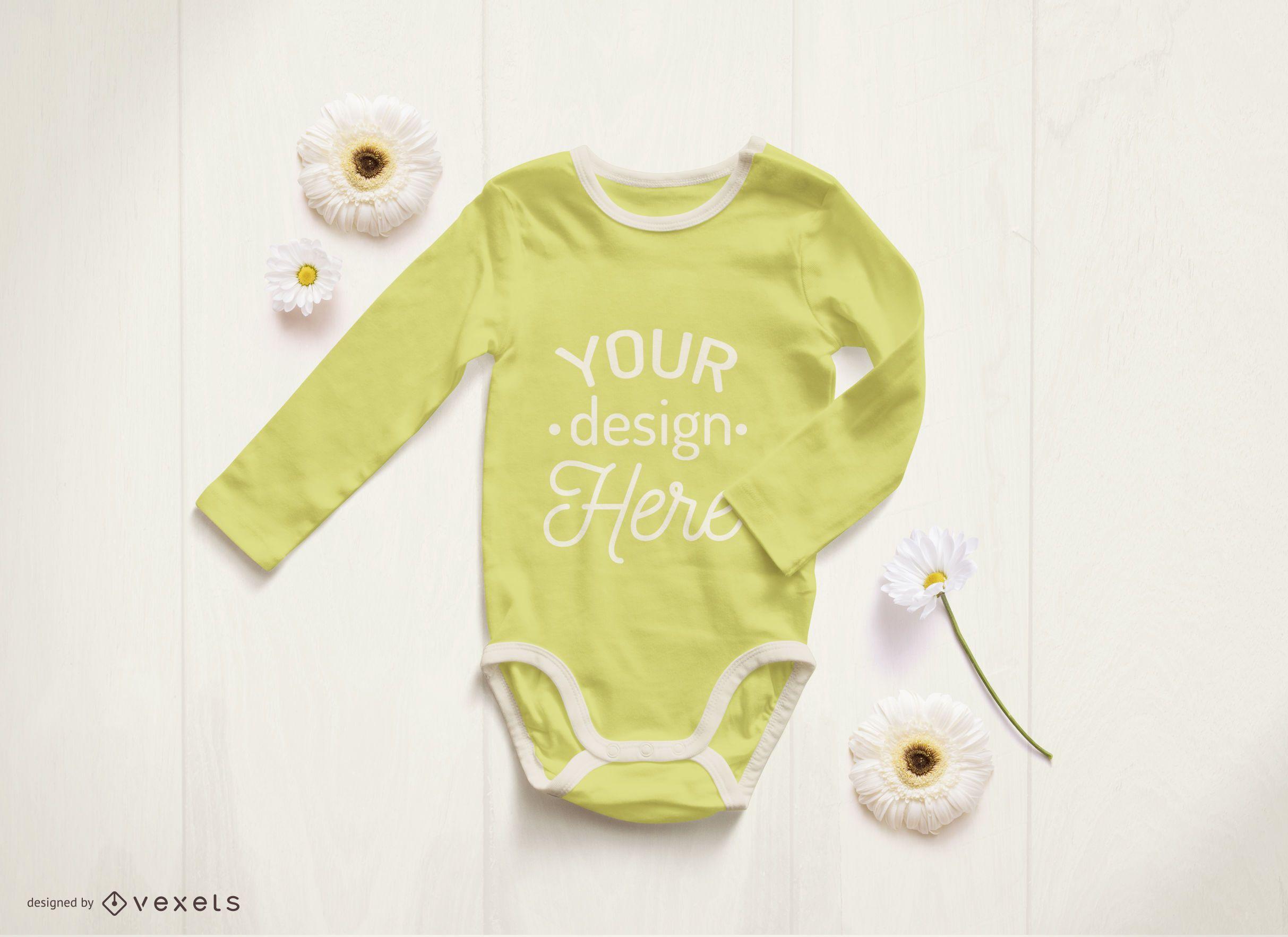 yellow baby onesie mockup