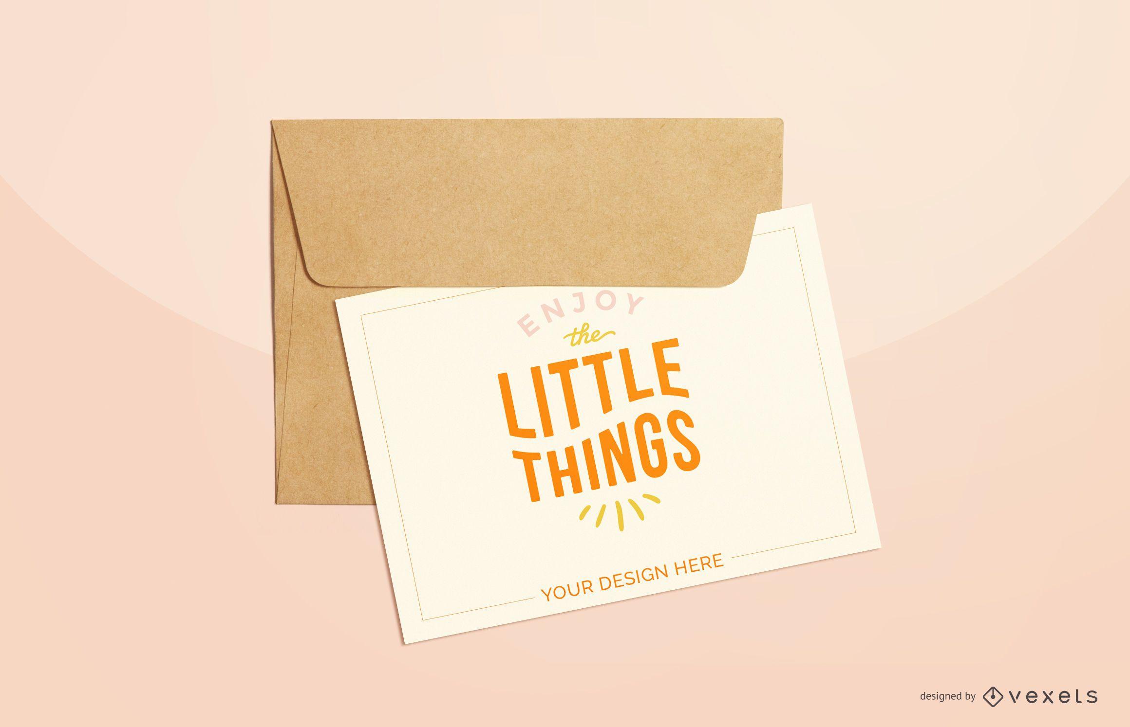 pink greeting card mockup