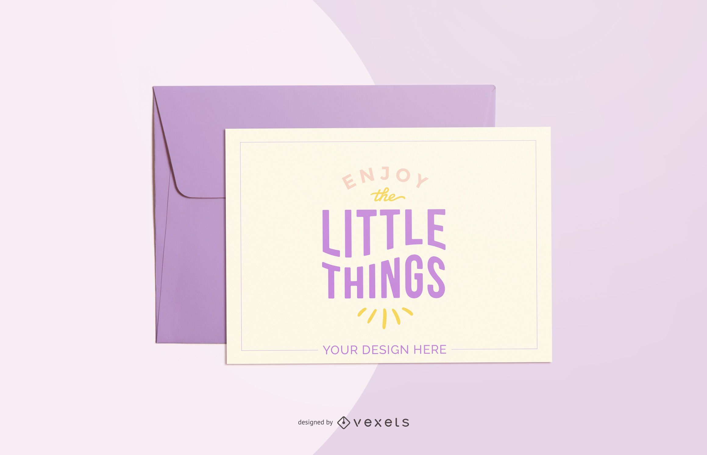 purple greeting card mockup