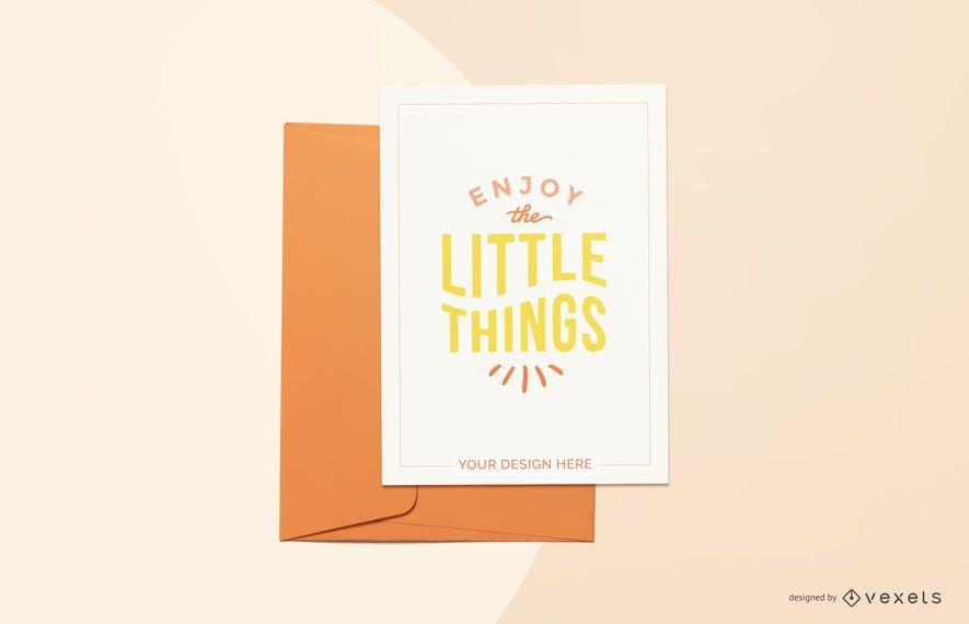 orange greeting card mockup