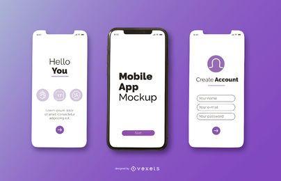 design de maquete de aplicativo móvel