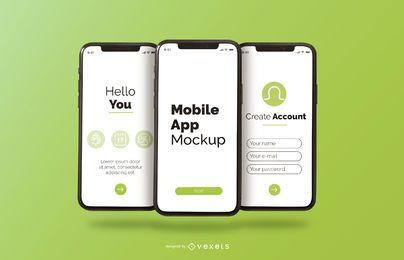 maqueta del teléfono de la aplicación móvil