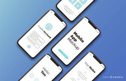composición de maquetas de aplicaciones móviles