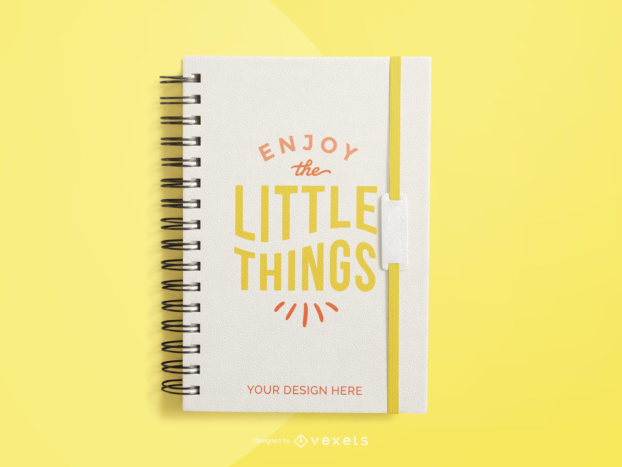 maquete de caderno amarelo