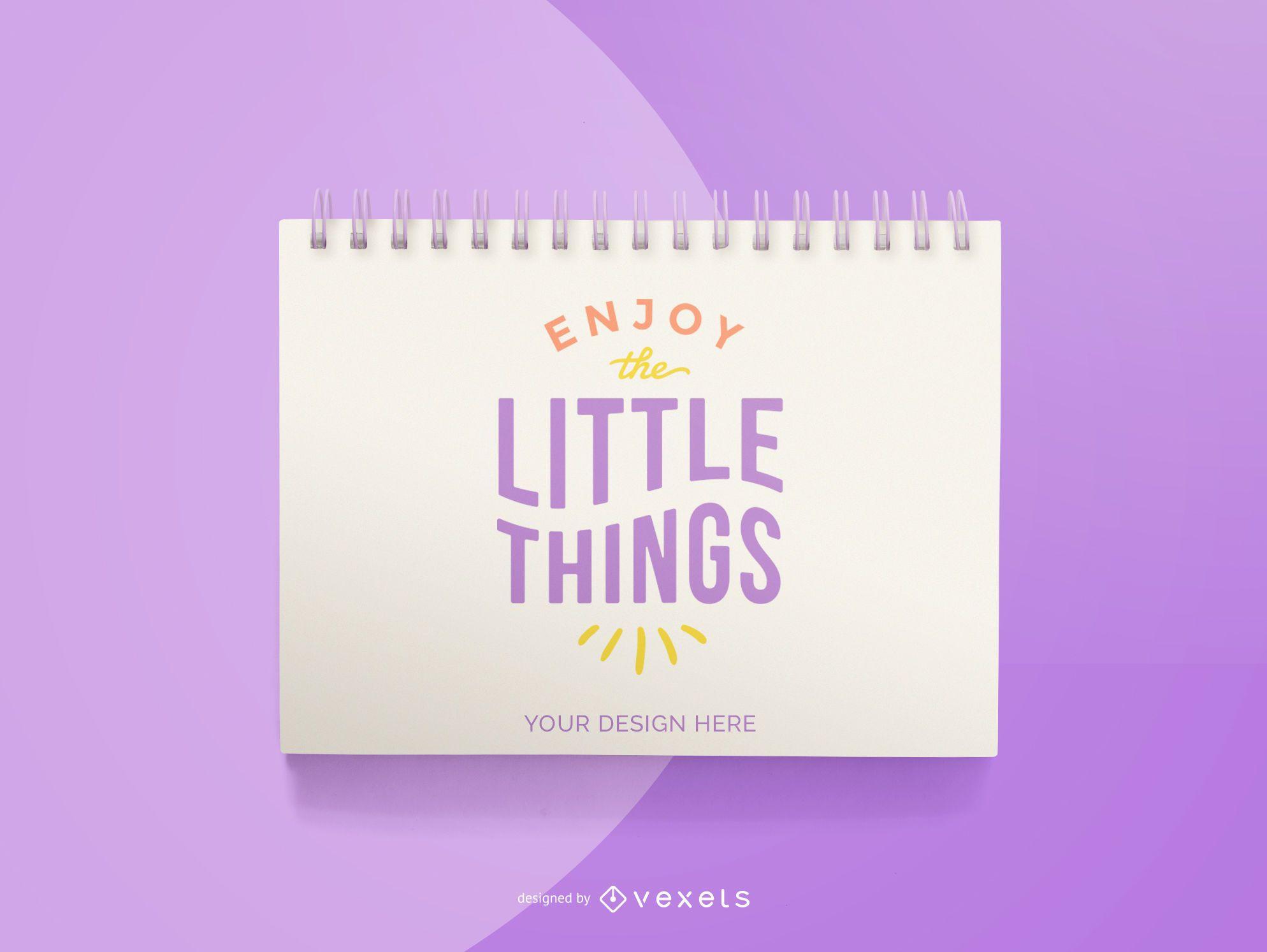 purple notebook mockup