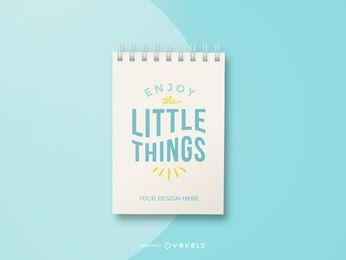 maquete de caderno azul