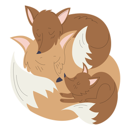Animals mom and baby fox illustration
