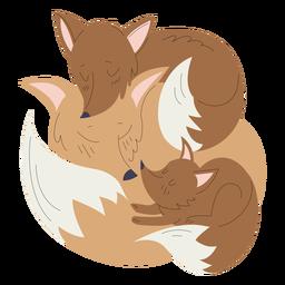 Ilustração de animais mãe e raposa bebê