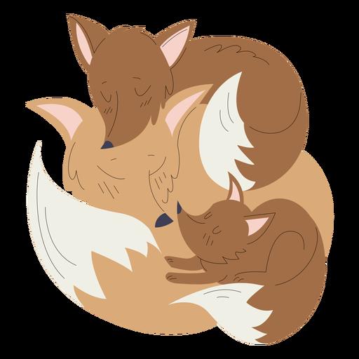 Animals mom and baby fox illustration