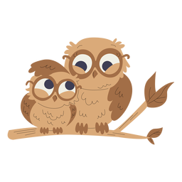 Animals mom and baby owls illustration