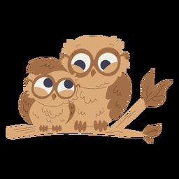Ilustración de animales mamá y bebé búhos
