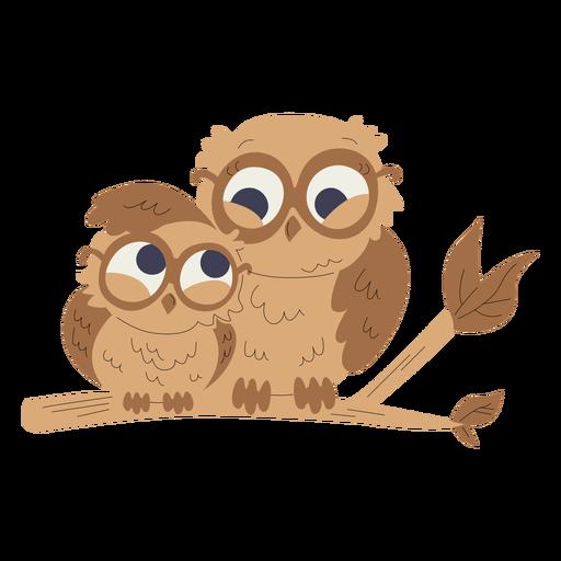 Ilustração de animais mãe e bebê corujas